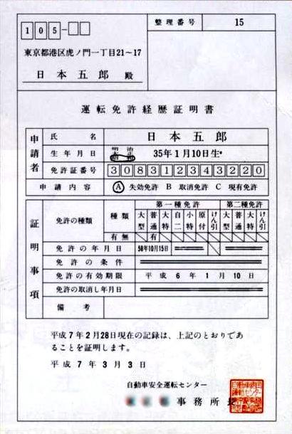 自転車の 自動車運転免許証取得 : 運転経歴証明書の交付申請手続 ...